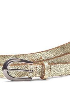lascana leren riem heupgordeltje in metallic-snake-look goud