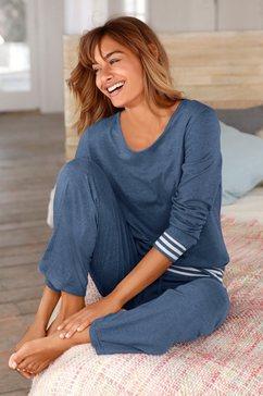 arizona pyjama met gestreepte boorden blauw