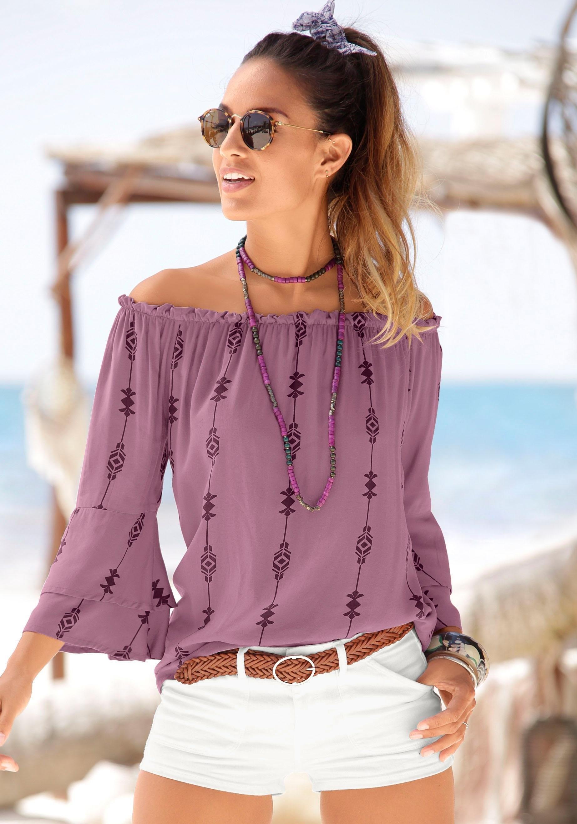 Lascana blouse met carmenhals met ethno print bij Lascana online kopen
