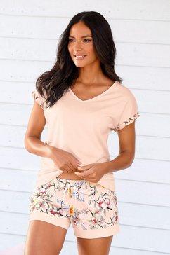 s.oliver red label bodywear shortama met bloemmotief roze