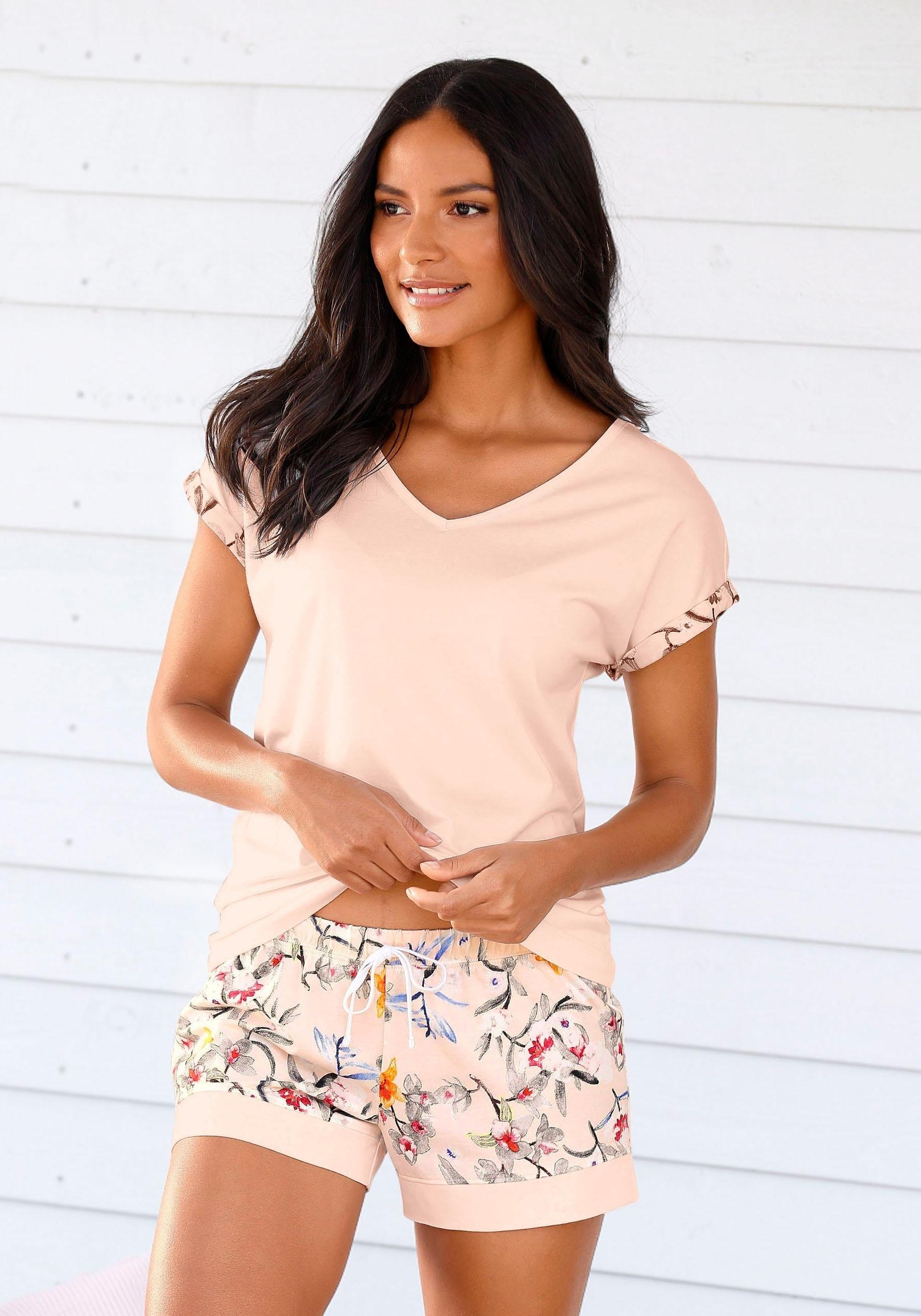 s.Oliver RED LABEL Bodywear shortama met bloemmotief nu online bestellen