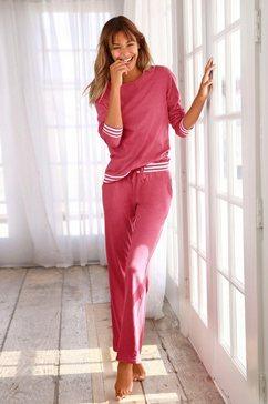 arizona pyjama met gestreepte boorden rood