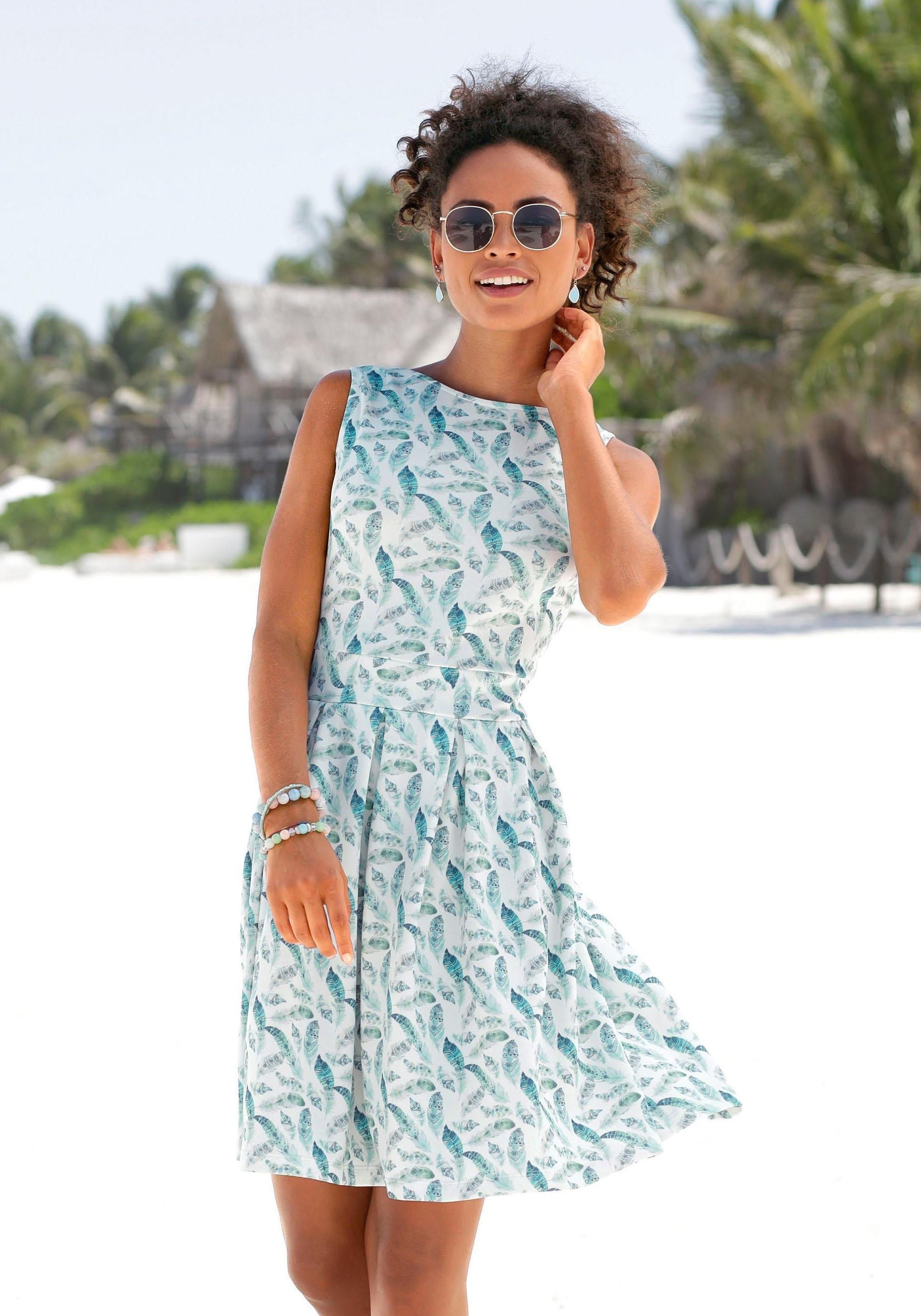 LASCANA scuba-jurk met veren-print veilig op lascana.nl kopen