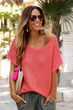 lascana trui met korte mouwen in luchtig ajourbreisel rood