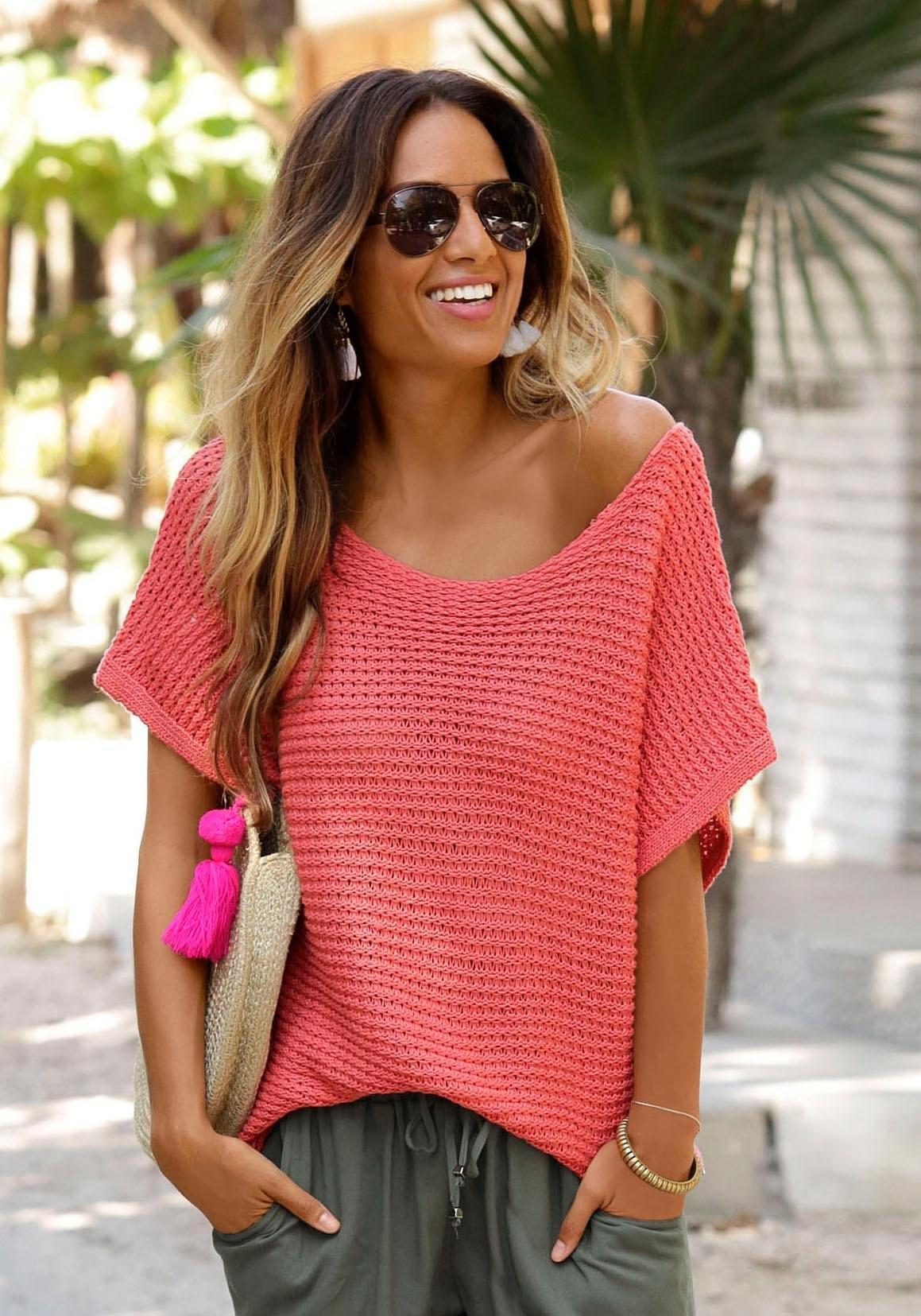 Lascana trui met korte mouwen in luchtig ajourbreisel bij Lascana online kopen