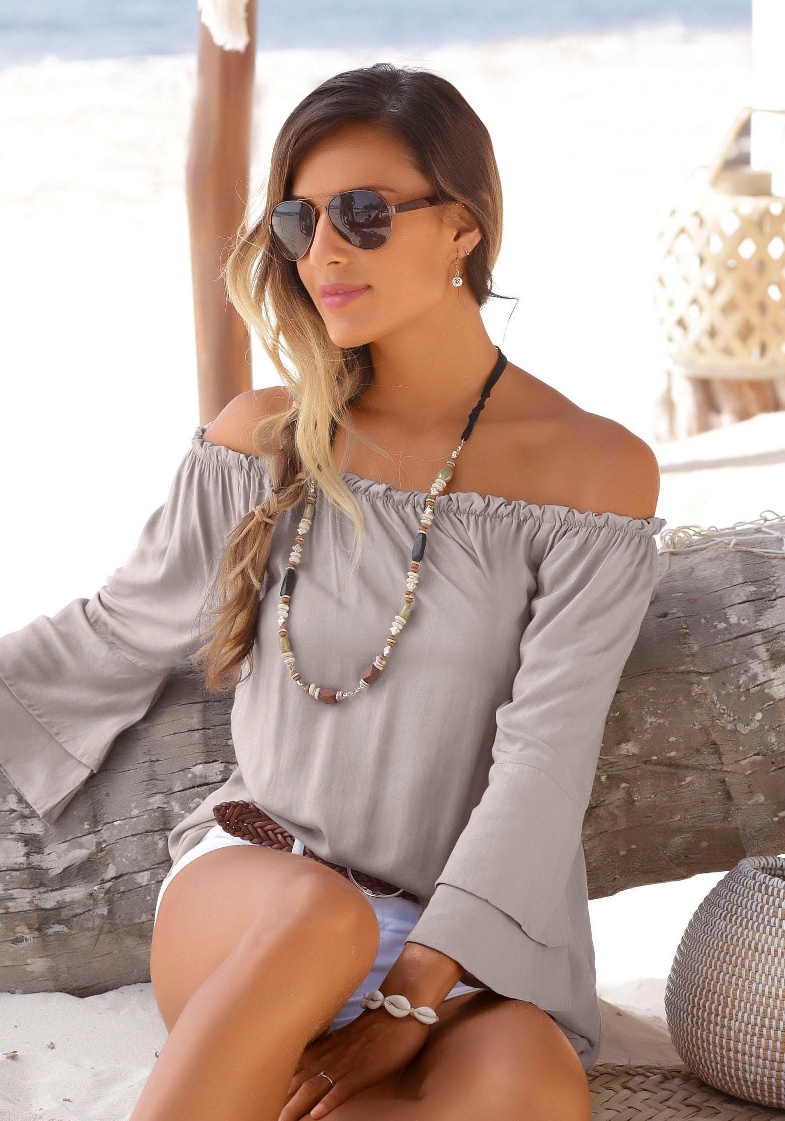LASCANA blouse met carmenhals nu online kopen bij Lascana