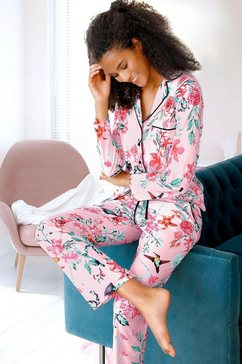 vivance dreams pyjama in klassiek model met reverskraag roze