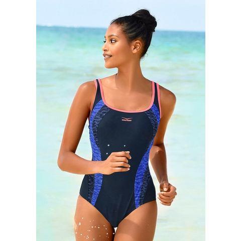 Venice Beach badpak met inzetten in gemeleerde look