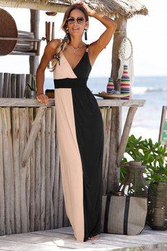 lascana maxi-jurk in colourblocking-stijl zwart