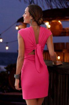 lascana party-jurk van elastisch ribmateriaal roze