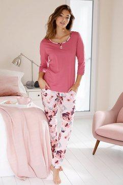 vivance dreams pyjama met aquarel-bloemenprint rood