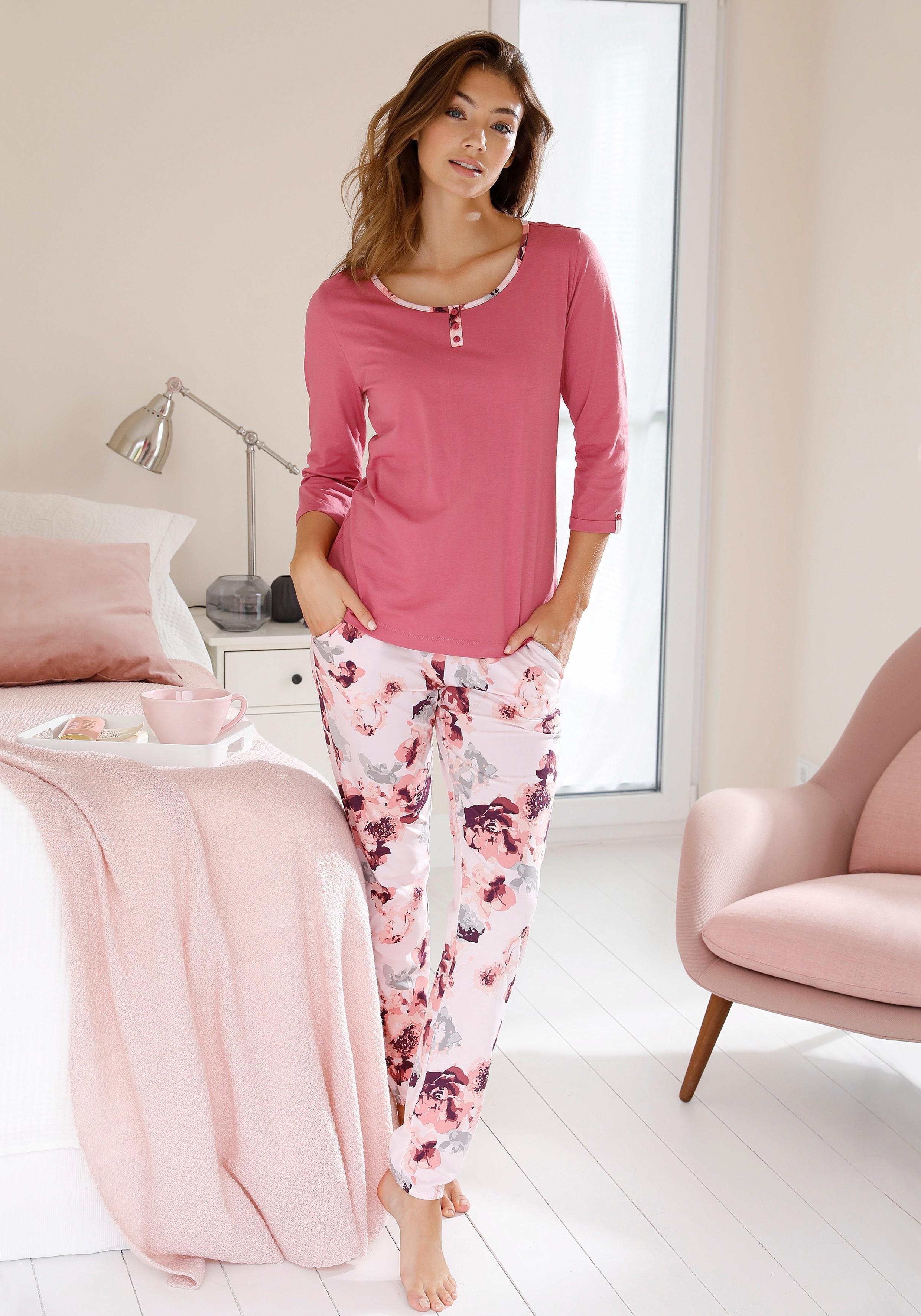 Vivance Collection Vivance Dreams pyjama met aquarel-bloemenprint goedkoop op lascana.nl kopen