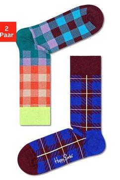 happy socks sokken electric en business met kleurrijke ruiten (2 paar) multicolor