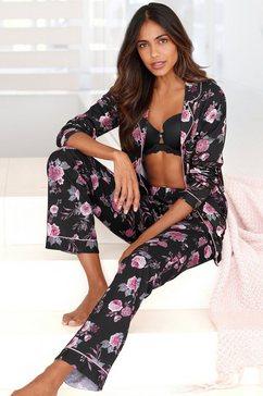 lascana pyjama in klassiek model met knoopsluiting multicolor