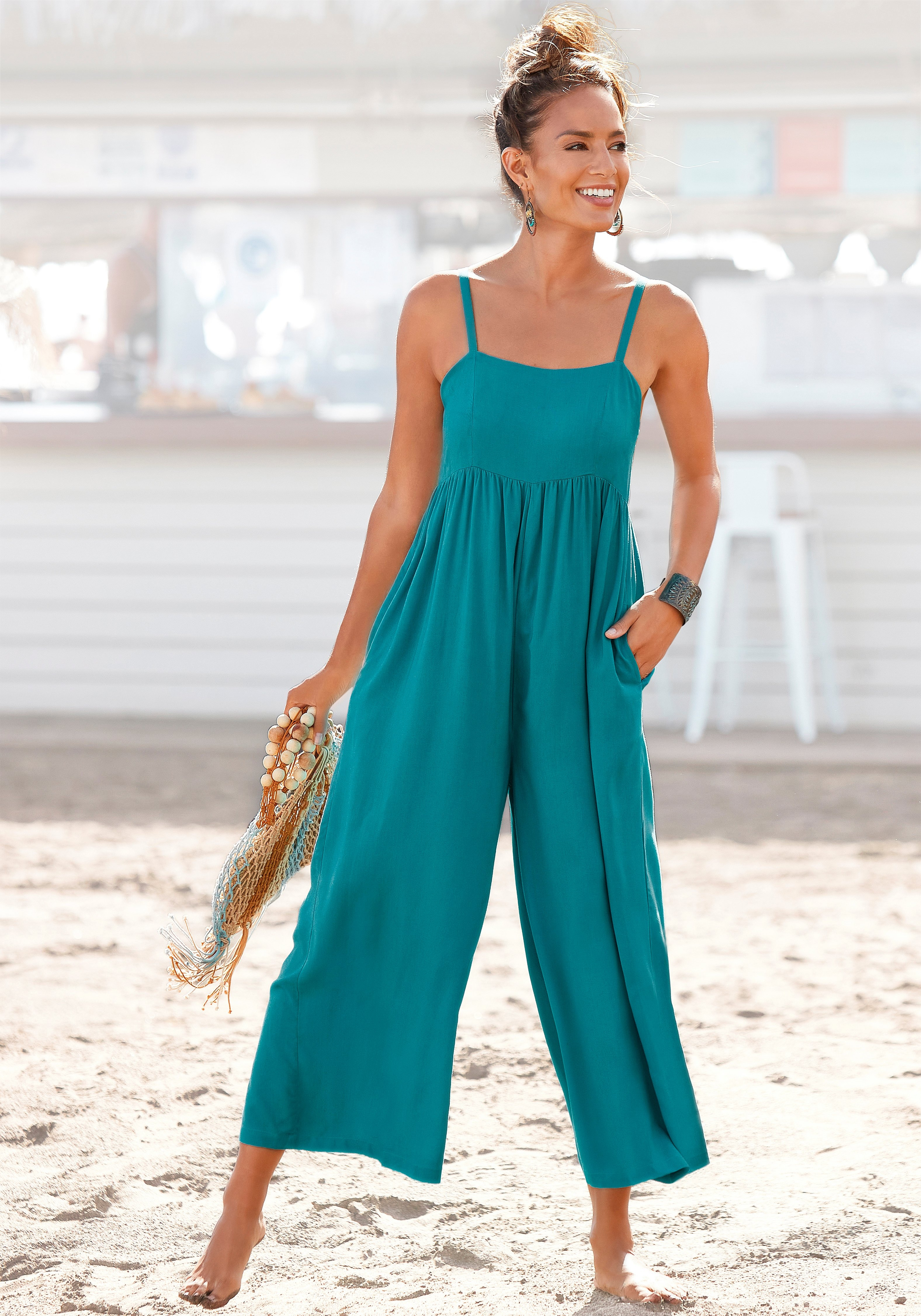 s.Oliver RED LABEL Beachwear jumpsuit in culotte-stijl met spaghettibandjes goedkoop op lascana.nl kopen