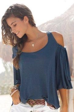 lascana shirt met ronde hals met strikdetail aan de mouw blauw