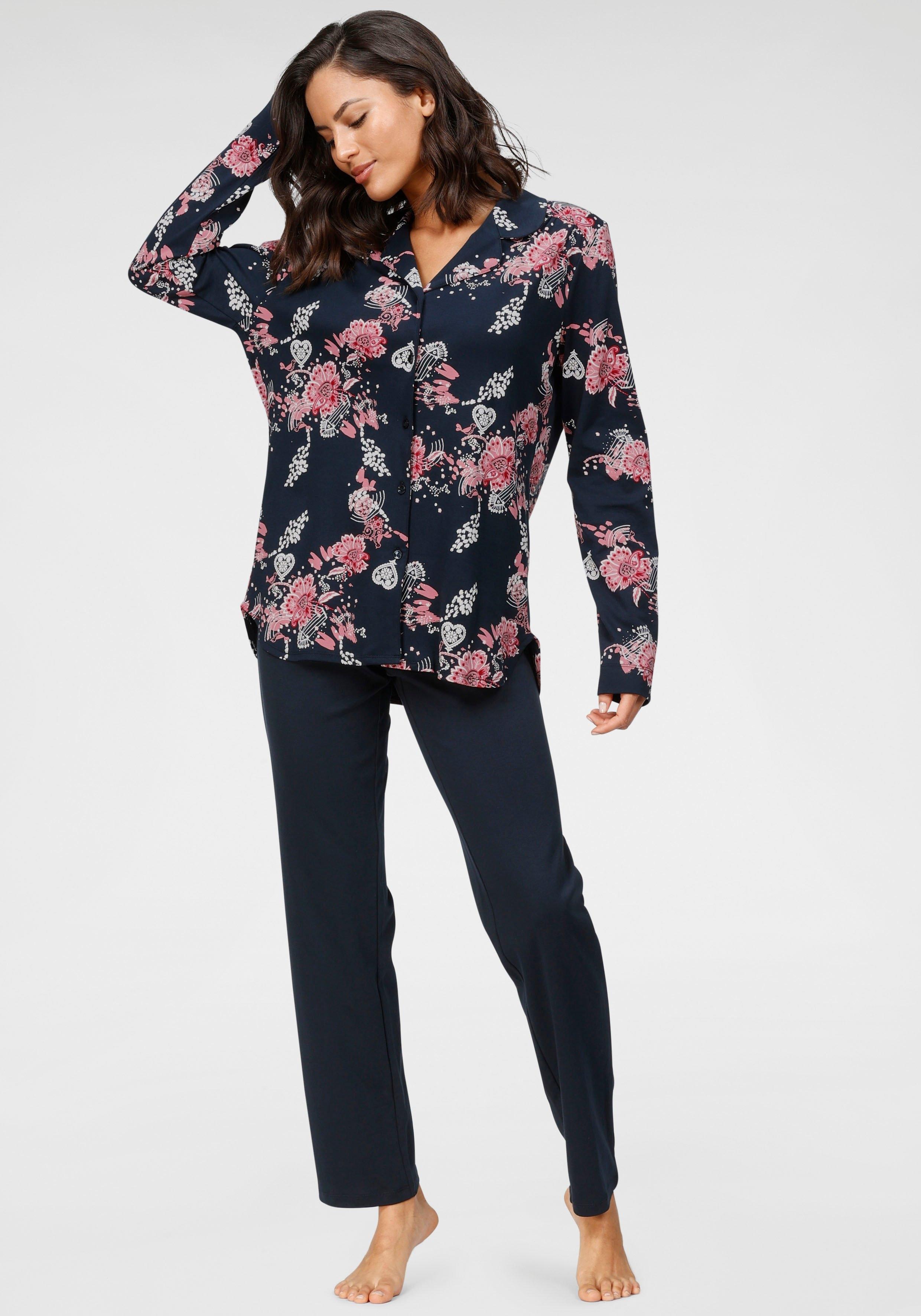 Schiesser Pyjama met gebloemd overhemd bij Lascana online kopen