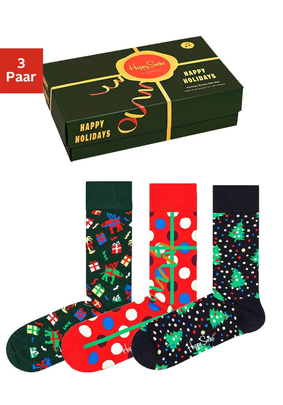Happy Socks sokken in kerstachtige cadeauverpakking (box, 3 paar) in de webshop van Lascana kopen