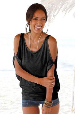 lascana strandshirt met schoudersplitten zwart