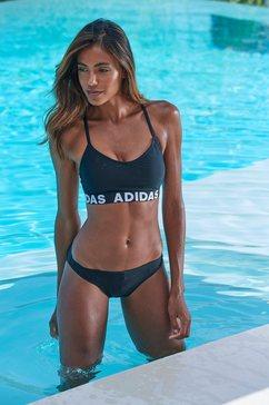 adidas performance bustierbikini met merkopschriften zwart