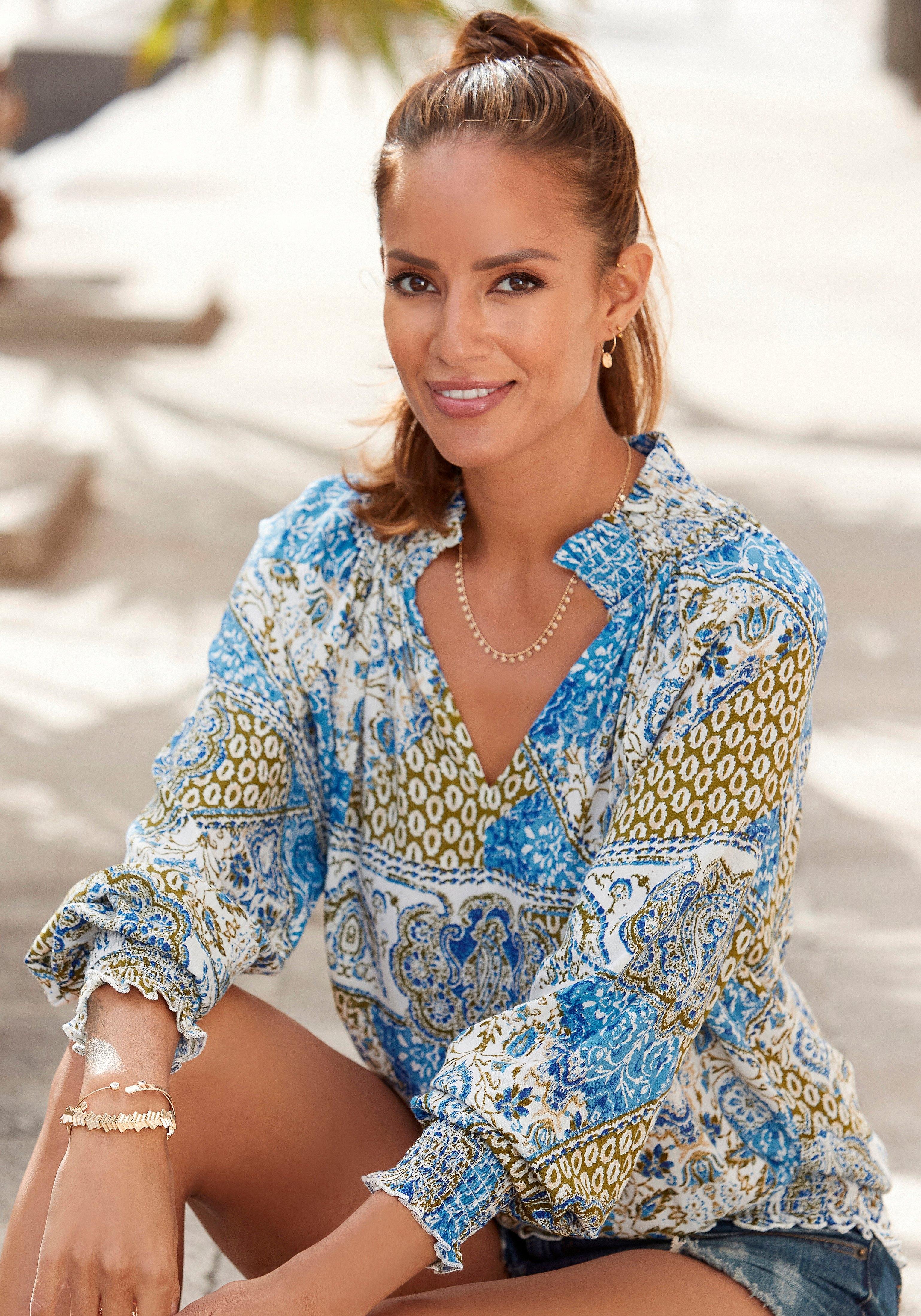 Lascana gedessineerde blouse met patchworkprint - verschillende betaalmethodes