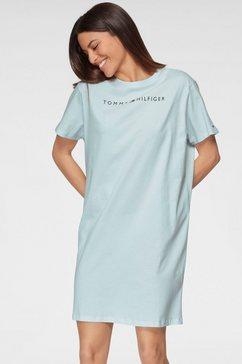tommy hilfiger nachthemd met verlaagde schoudernaden en logo-opschrift blauw