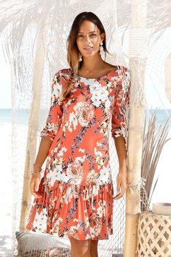 s.oliver red label beachwear jerseyjurk met bloemenprint rood