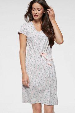 seidensticker nachthemd met klaproosmotief en tailleband roze