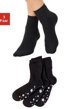 lavana abs-sokken met antislipzool in sterrendesign (3 paar) zwart