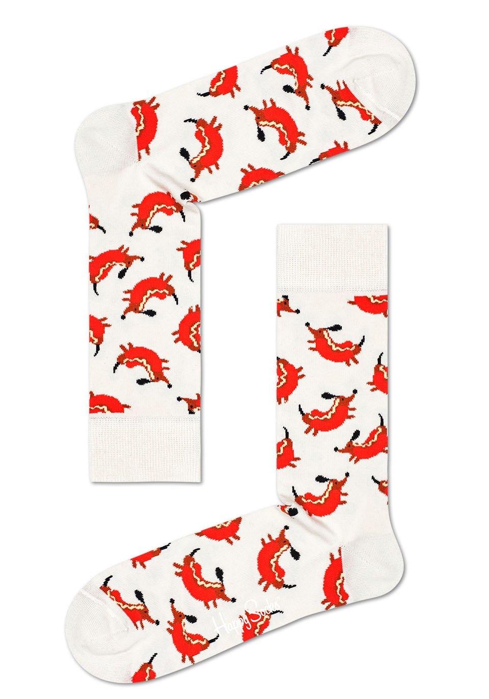 Happy Socks sokken Hot Dog Dog met leuke hond in hotdogmotieven - gratis ruilen op lascana.nl