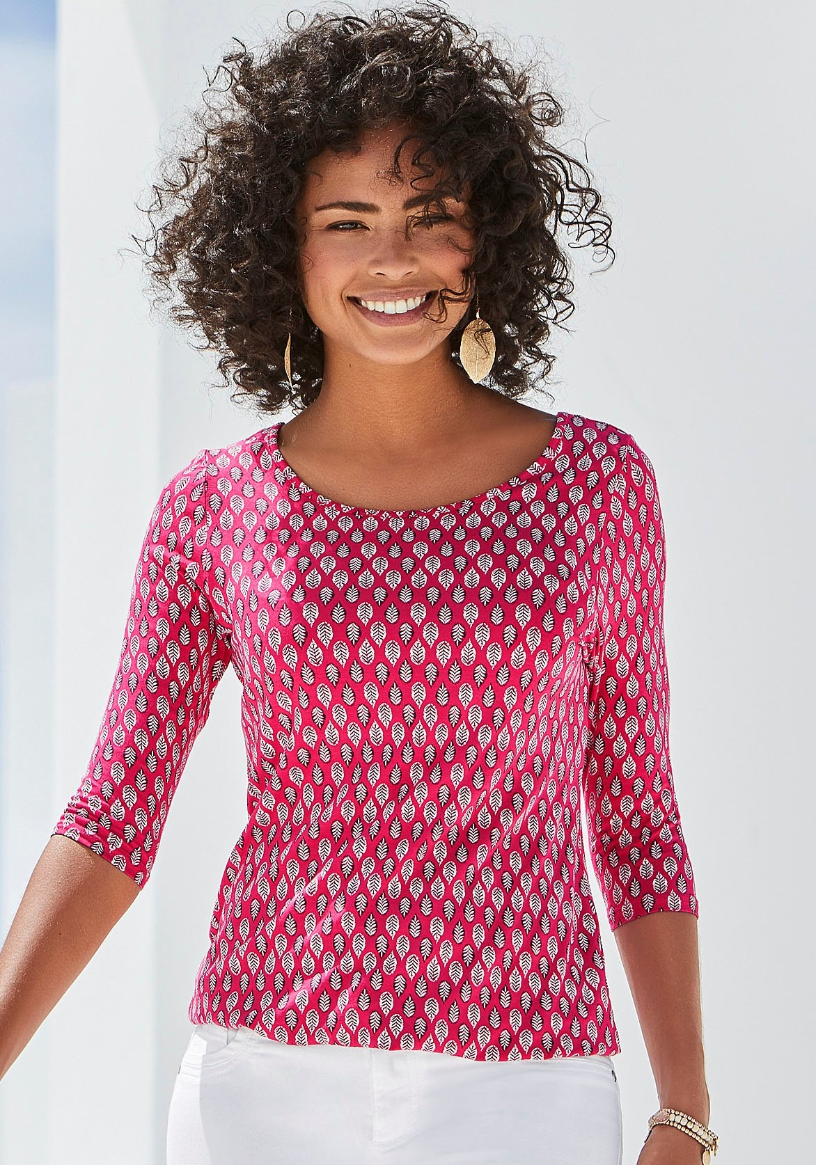 Lascana shirt met 3/4-mouwen met modieuze all-over print (Set van 2) veilig op lascana.nl kopen