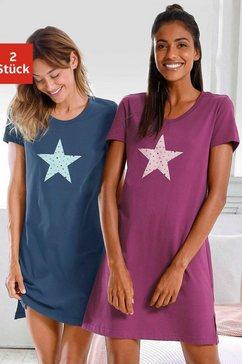vivance dreams nachthemd (set van 2) met sterrenprint multicolor