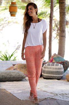 s.oliver red label beachwear strandbroek met bloemenprint oranje