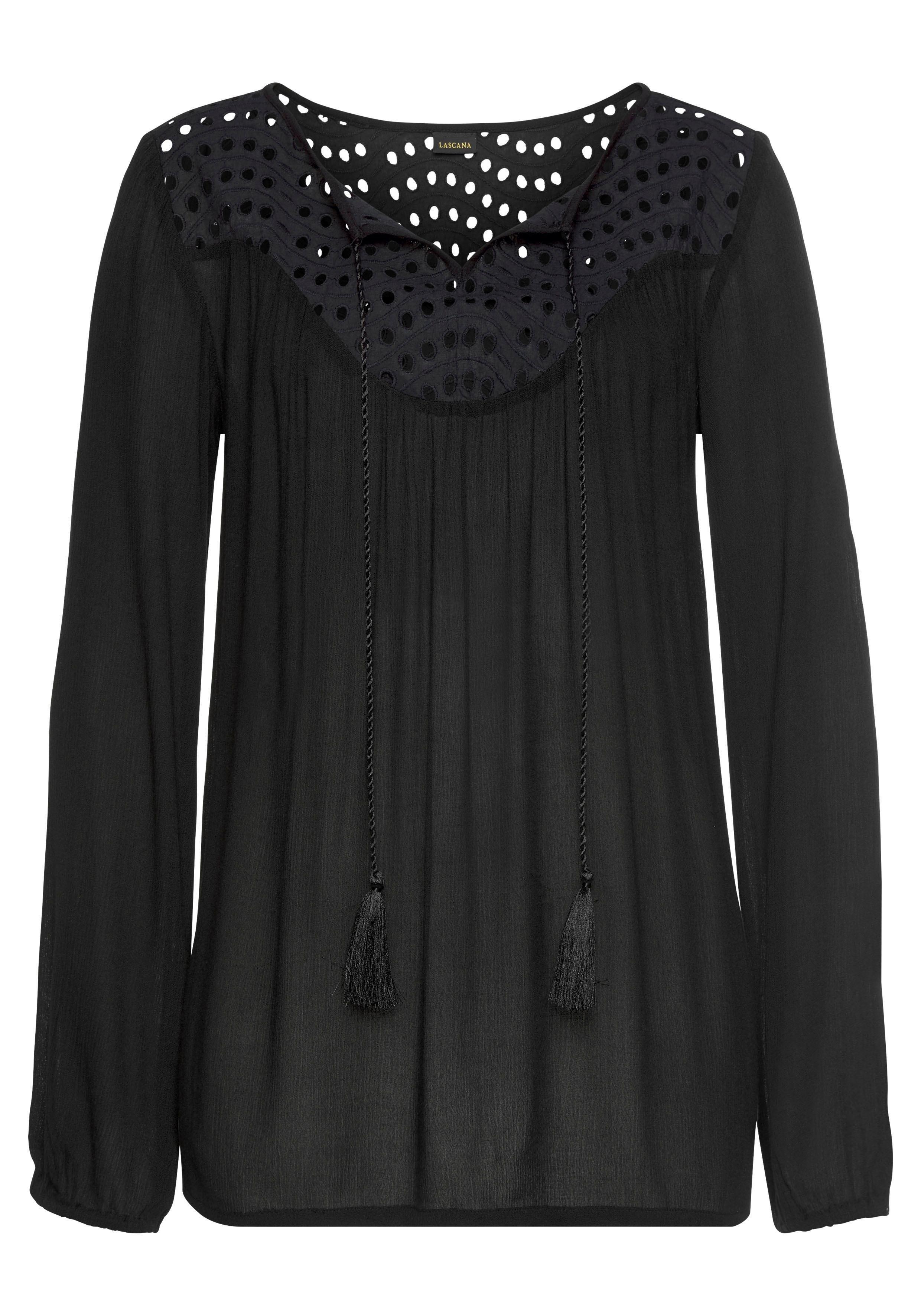 Lascana crêpe-blouse met broderie anglaise bij Lascana online kopen