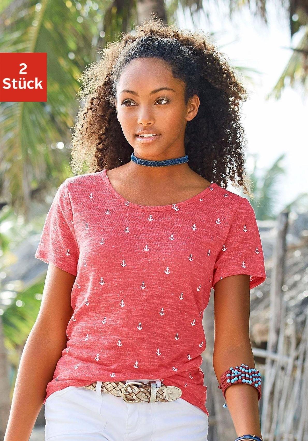 Beachtime T-shirt met maritieme ankerprint (Set van 2) online kopen op lascana.nl