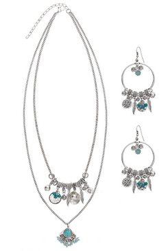 lascana oorringen en collier (3-delige set) zilver