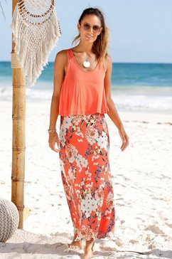 s.oliver red label beachwear maxi-jurk rood
