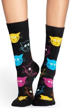 happy socks sokken cat met kleurrijke kattengezichten zwart