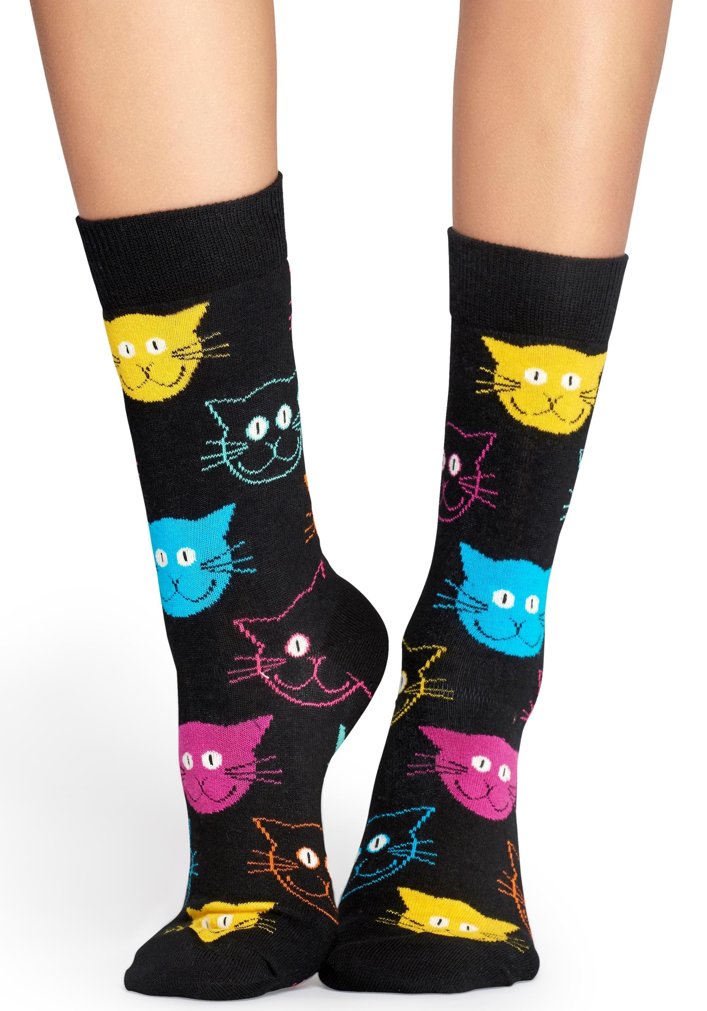Happy Socks Sokken CAT met kleurrijke kattengezichten - verschillende betaalmethodes