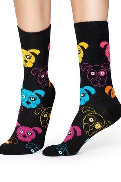 happy socks sokken dog met kleurrijke hondengezichten zwart