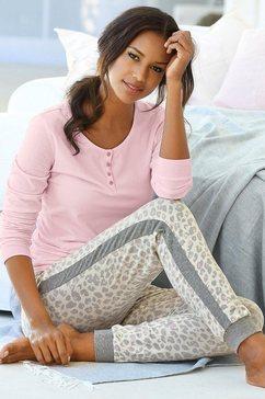 s.oliver red label beachwear pyjama met strepen opzij op de pijpen roze