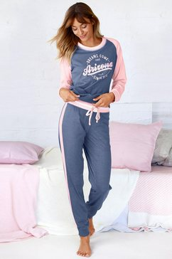 arizona pyjama in college-look met folieprint blauw