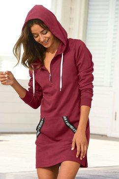 s.oliver red label beachwear sweatjurk met bezette kangoeroezak rood