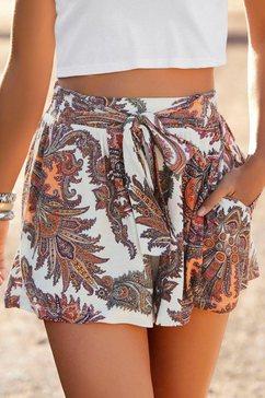 lascana strandshort met een bindstrik en paisleyprint wit