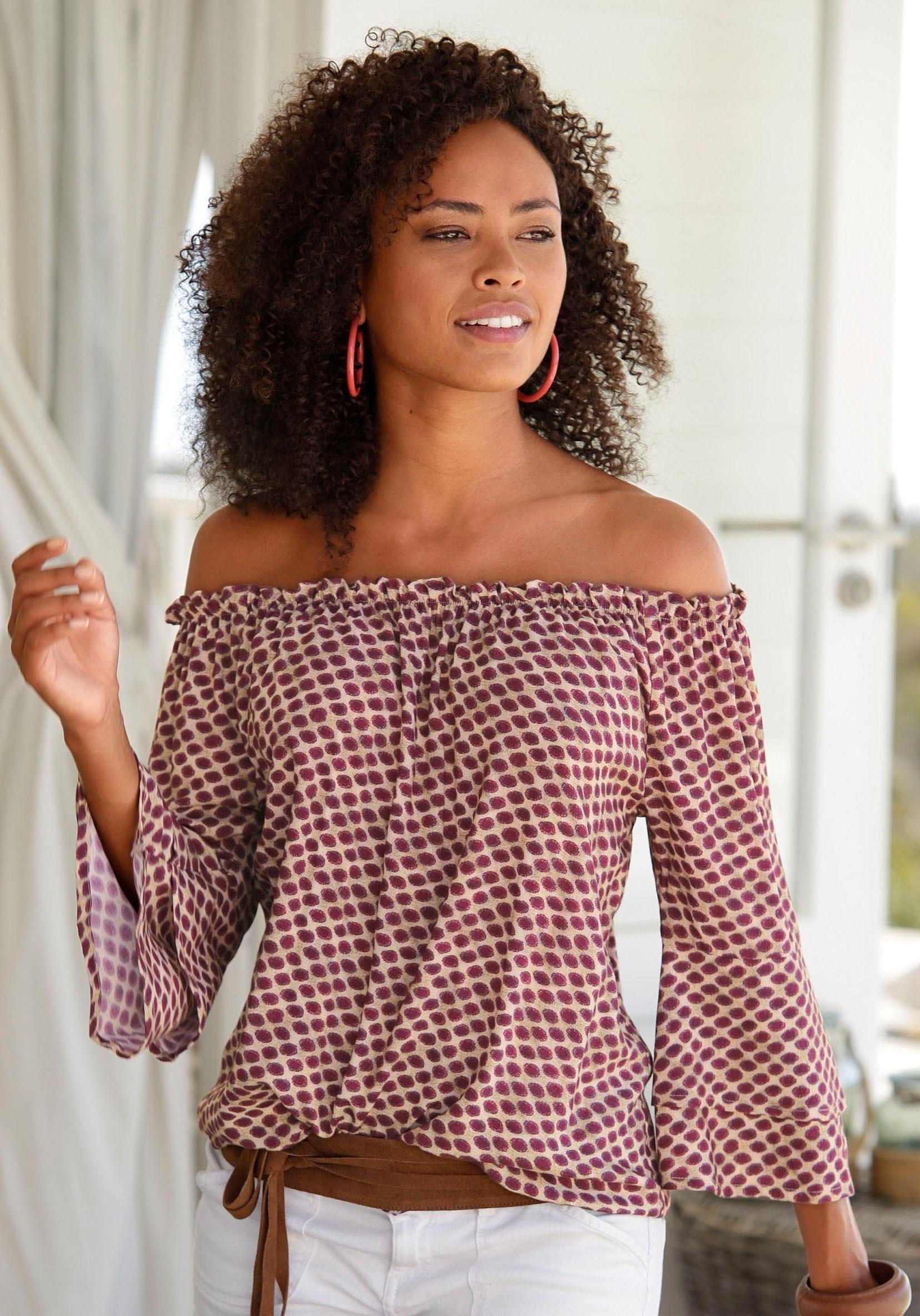 LASCANA blouse met carmenhals bestellen: 30 dagen bedenktijd