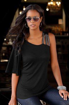 lascana shirt met vleermuismouwen zwart