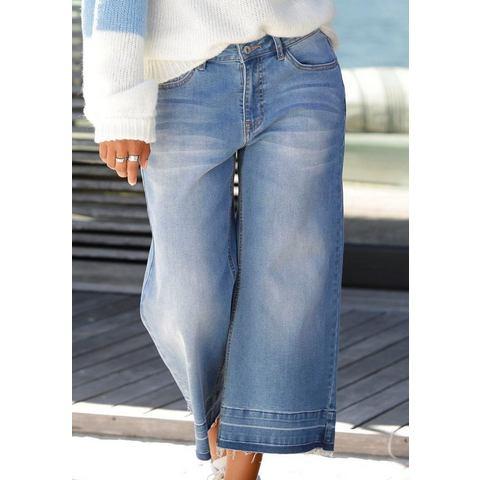 NU 15% KORTING: Buffalo culotte-jeans met gerafelde randen