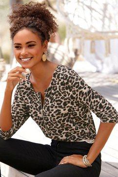 lascana shirt met 3-4-mouwen met dierenprint bruin