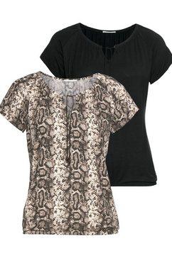 lascana shirt met korte mouwen bruin