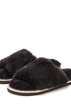 lascana pluchen pantoffels zwart